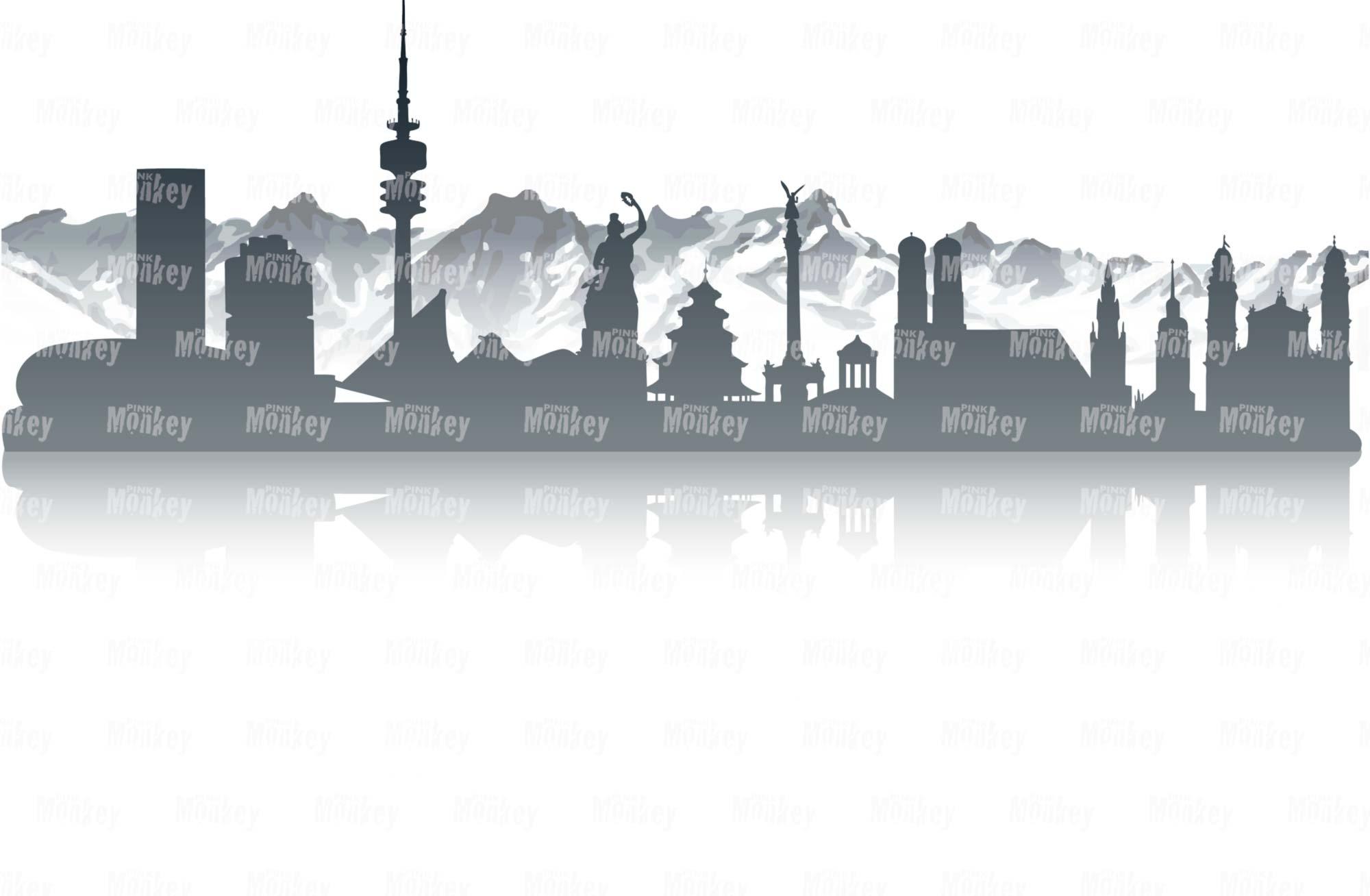 Skyline München mit Alpen