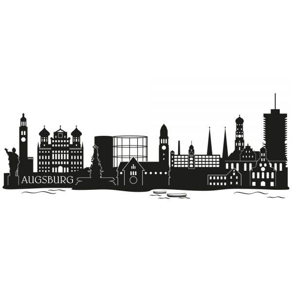 Skyline von Augsburg Illustration Schwarz Weiß