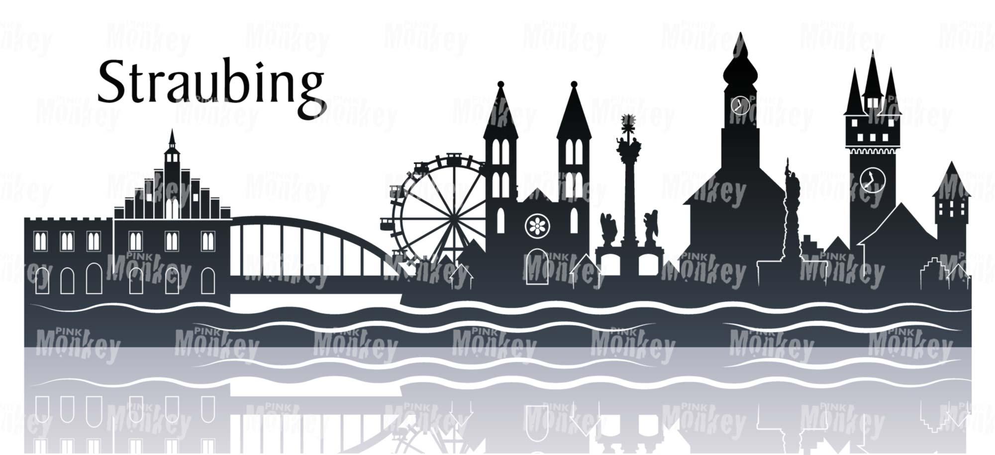 Skyline von Straubing mit Spiegelung und Schriftzug