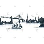 Skyline Hamburg Grafik Advanced mit Schriftzug