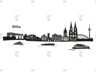 """Skyline Köln Grafik Klassisch mit Schriftzug """"Köln"""""""