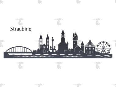 """Skyline Straubing Grafik mit Schriftzug """"Straubing"""""""