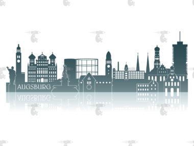 Skyline Augsburg Grafik mit Spiegelung und Schriftzug