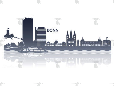 "Skyline Bonn Grafik Modern mit Schriftzug ""Bonn"""