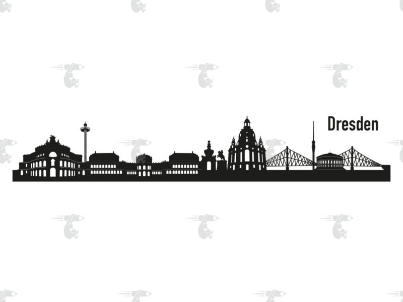 "Skyline Dresden Grafik mit Schriftzug ""Dresden"""