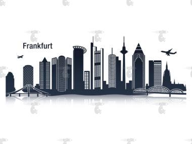 "Skyline Frankfurt Grafik mit Schriftzug ""Frankfurt"""