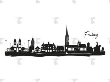 """Skyline Freiburg Grafik mit Schriftzug """"Freiburg"""""""