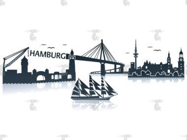 Skyline Hamburg Grafik mit Schriftzug