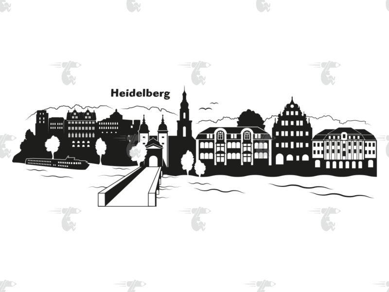 "Skyline Heidelberg Grafik mit Schriftzug ""Heidelberg"""