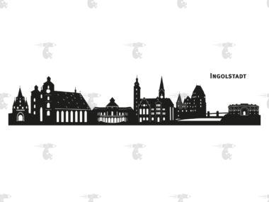 """Skyline Ingolstadt Grafik mit Schriftzug """"Ingolstadt"""""""