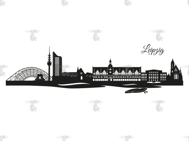 """Skyline Leipzig Grafik mit Schriftzug """"Leipzig"""""""