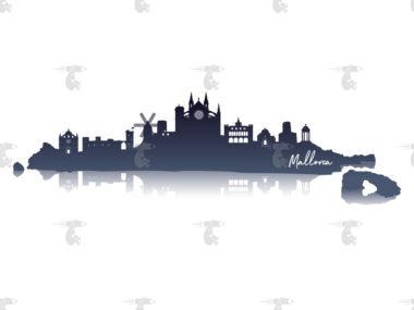 Skyline Mallorca Grafik mit Spiegelung