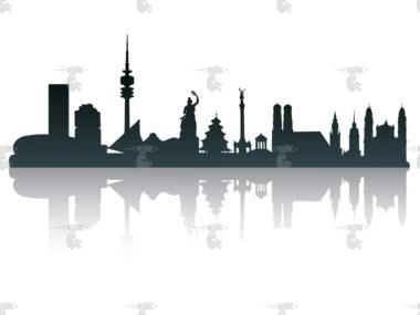 Skyline München Grafik mit Spiegelung