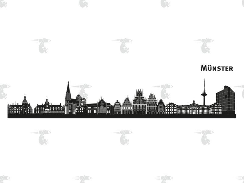 "Skyline Münster Grafik mit Schriftzug ""Münster"""