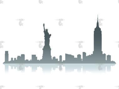 Skyline New York Grafik mit Spiegelung