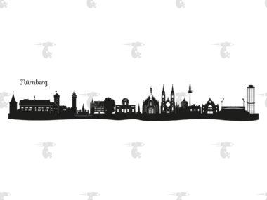 """Skyline Nürnberg Grafik mit Schriftzug """"Nürnberg"""""""