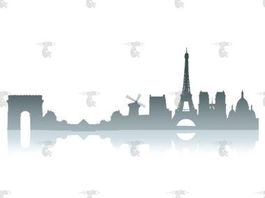 Skyline Paris Grafik mit Spiegelung