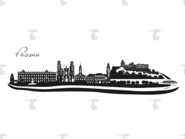 """Skyline Passau Grafik mit Schriftzug """"Passau"""""""