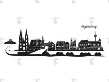 "Skyline Regensburg Grafik mit Schriftzug ""Regensburg"""