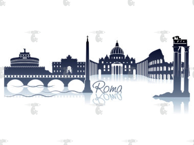 "Skyline Rom Grafik Modern mit Schriftzug ""Roma"""