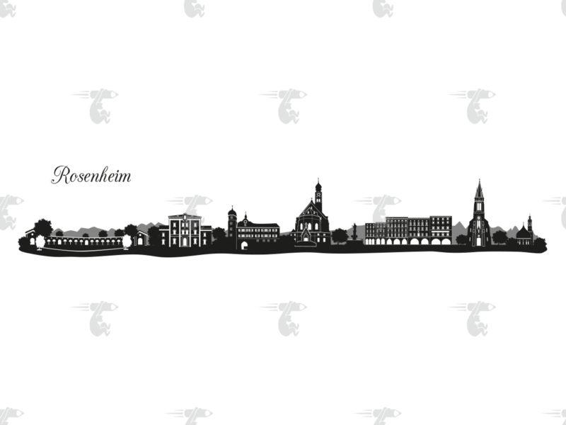 """Skyline Rosenheim Grafik mit Schriftzug """"Rosenheim"""""""