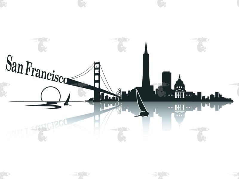 Skyline San Francisco Grafik mit Schriftzug