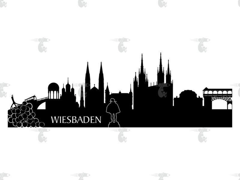 Skyline Wiesbaden Grafik
